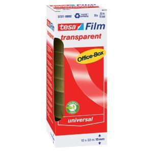 Tesa Tesafilm officebox transparant plakband 33 m x 15 mm 10 rollen N57371