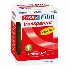 Tesa Tesafilm officebox transparant plakband 66 m x 15 mm 10 rollen N57372