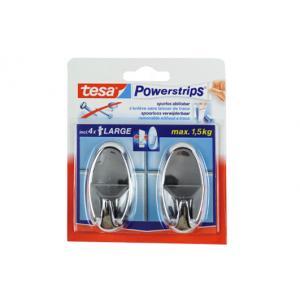 Tesa Powerstrips haak large ovaal chroom 58050-12