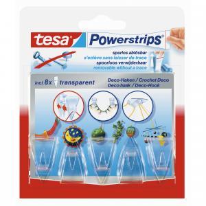 Tesa Powerstrips Decohaken transparant 58900-13