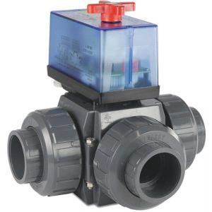 Praher 3-weg kogelkraan L-boring PVC-U 40 mm lijmmof 3 bar DN32 230 V grijs zijaansluiting - Y51054867 - afbeelding 1