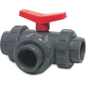 Mega 3-weg kogelkraan L-boring PVC-U 20 mm lijmmof 10 bar DN15 grijs type L-boring zijaansluiting - Y51054861 - afbeelding 1