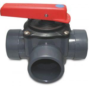 Mega 3-weg kraan PVC-U 50/63 mm lijmmof-spie 6 bar grijs - Y51054860 - afbeelding 1
