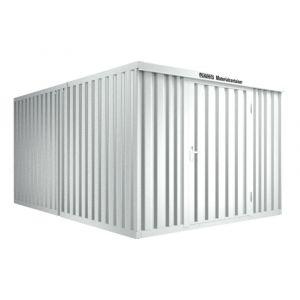 Orbis containercombinatie HxLxB 2150x4340x3050 mm 2 modules met houten vloer verzinkt gelakt voorgemonteerd afwerking RAL 7035 - Z10079141 - afbeelding 1