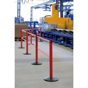 Orbis afzetsysteem Safety aluminium voet gegoten gewicht/PVC HxD 1000x355 mm 2xband L 2,3 m rood-wit - Z10081448 - afbeelding 1