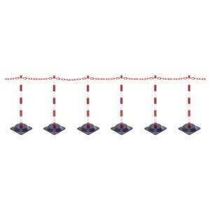 Orbis kettingstaander-set kunststof 6 kettingstaanders vierkante voet 10 m ketting H boven maaiveld 870 mm rood-wit - Z10081000 - afbeelding 1