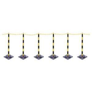 Orbis kettingstaander-set kunststof 6 kettingstaanders vierkante voet 10 m ketting H boven maaiveld 870 mm zwart-geel - Z10081001 - afbeelding 1
