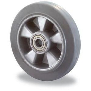 Orbis wiel draagvermogen 150 kg DxB 100x40 mm aluminium velg elastische band grijs - Z10002469 - afbeelding 1