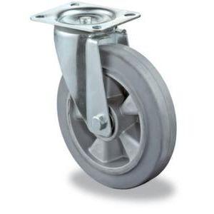 Orbis zwenkwiel draagvermogen 300 kg diameter x B 160x50 mm aluminium velg elastische band grijs - Z10002461 - afbeelding 1