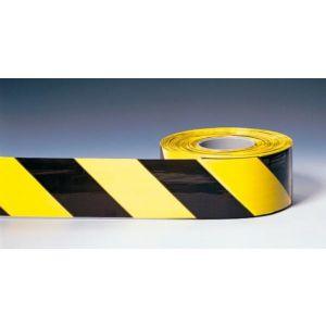 Orbis afzetlint B 80 mm L 500 m beide zijden bedrukt PE blokstrepen zwart-geel - Z10081030 - afbeelding 1