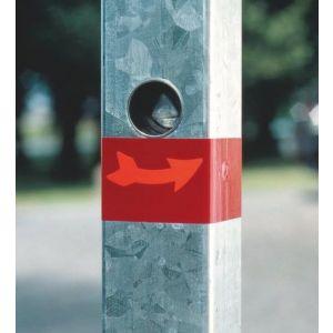 Orbis afzetpaal ronde buis diameter 76 mm uitneembaar bodemplaat driekantslot spitse kop verzinkt-rood - Z10080952 - afbeelding 1