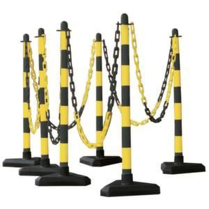 Orbis kettingstaander-set kunststof 6 kettingstaanders driehoekige voet 10 m ketting H boven maaiveld 870 mm zwart-geel - Z10080997 - afbeelding 1