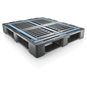 Orbis pallet HDPE HxLxB 160x1200x1000 mm draagvermogen 5000 kg zwart-blauw - Z10014214 - afbeelding 1