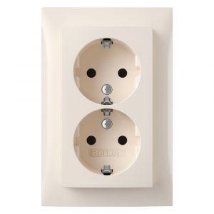 Berker S1 contactdoos inbouw 2-voudig randaarde crème blister - Y50401295 - afbeelding 1