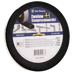 Zwaluw Compress Band BG1 compressieband 15x10 mm x 1,5-2,5 mm x 12,5 m antraciet - A51250035 - afbeelding 1