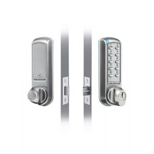 Dulimex DX KNSV-6001 PVD elektronisch codeslot met inbouw nachtschoot en vastzetter Vrije toegang mogelijkheid links en rechts PVD weerbestendig sleutel en batterij Override vandalisme DD 35-65 mm voor binnen en buiten - Y30203017 - afbeelding 1