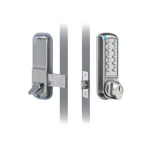 Codelocks KNSV-6010 PVD elektronisch codeslot met opbouw nachtschoot Vrije toegang links en rechts PVD weerbestendig sleutel en batterij Override vandalisme DD 35-65 mm voor binnen en buiten zamac geborsteld staal RVS toetsen - Y30201962 - afbeelding 1
