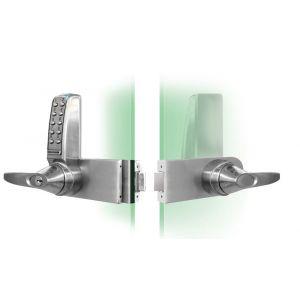 Codelocks KNSV-6035 BS elektronisch codeslot voor glazen deuren krukbediening Vrije toegang links sleutel Override voor alle Rondo deuren vandalisme DD 8-15 mm alleen geschikt voor binnen en naar binnendraaiende deuren - Y30201965 - afbeelding 1