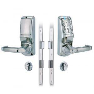 Codelocks KNSV-7025 PVD elektronisch codeslot Heavy Duty kruk met insteek slot dubbele cilinder meegeleverd Vrije toegang links en rechts PVD weerbestendig sleutel Override voor alle DIN (hoofd)-sloten vandalisme DD 35-65 mm - Y30201967 - afbeelding 1