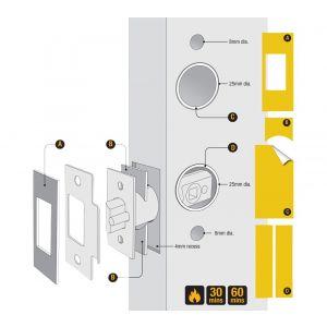 Dulimex DX KNSV-ACC SET5 Fire kit pack past op alle electronische sloten voor 30 en 60 min brandwerende deuren EN 1634-1: 2008 - A30203019 - afbeelding 1