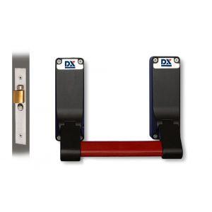 Dulimex DX PO 305 EB RZ anti-paniekstang DX 305 RZ enkele deur 1-puntssluiting met insteek anti-paniekslot doornmaat 56,9 mm PC-maat 47,5 mm rood-zwart - A30202145 - afbeelding 1