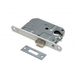 Dulimex DX KS-50-PCWE kastslot doornmaat 50 mm Euro cilinder ronde voorplaat wit inclusief rechthoekige sluitplaat - A13002467 - afbeelding 1