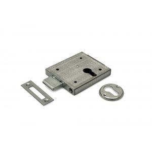 Dulimex DX KB 070PC B opleg-kelderslot voor PC 60 mm links en rechts bruikbaar 2 toeren met rozet en sluitplaat staal verzinkt - A13002495 - afbeelding 1