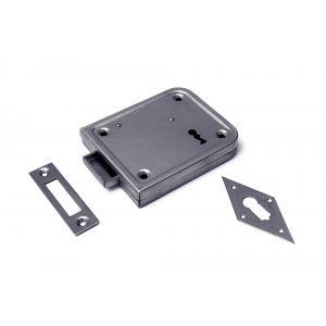 Dulimex DX KB 070BBK ZE opleg-kelderslot voor BB 70 mm links en rechts bruikbaar 2 toeren met sleutelplaat, 2 sleutels en sluitplaat staal verzinkt 1 stuks kopkaart - A13002496 - afbeelding 1
