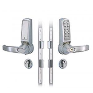 Codelocks KNSV-6025 PVD elektronisch codeslot krukbediening met insteek slot dubbele cilinder meegeleverd Vrije toegang links en rechts PVD weerbestendig sleutel Override voor alle DIN (hoofd)-sloten vandalisme DD 35-65 mm - A13002450 - afbeelding 1