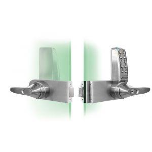 Codelocks KNSV-6030 BS elektronisch codeslot voor glazen deuren krukbediening Vrije toegang rechts sleutel Override voor alle Rondo deuren vandalisme DD 8-15 mm alleen geschikt voor binnen en naar binnendraaiende deuren - A13002451 - afbeelding 1