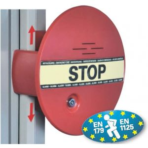 GfS DX 961 DEXCON bij espagnolet sluiting inclusief bekabeld deur reedcontact 2 m 2x systeemsleutel magneetfolie voor status waarneming pictogram STOP 9V batterij ingebouwde batterijbewaking EN 179 en 1125 95 dB - A13002997 - afbeelding 1