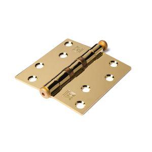 Dulimex DX H162-89892101 kogellagerscharnier rechte hoeken 89x89 mm vermessingde pen staal vermessingd - A13002209 - afbeelding 1