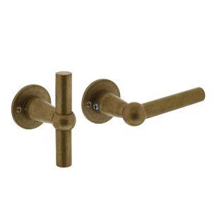 Intersteel Living 0324 deurkruk L/T model met rozet diameter 42x2 mm messing getrommeld 0011.032402 - A1204484 - afbeelding 1