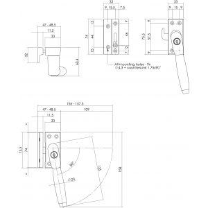 Intersteel Living 6616 SKG* afsluitbare raamsluiting rechts Ton 400 messing getrommeld-ebbenhout compleet 0011.661652A - A1203941 - afbeelding 2