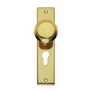Intersteel Living 2569 renovatie knopkortschild profielcilindergat 55 mm messing gelakt 0013.256929 - A1203354 - afbeelding 1