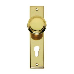 Intersteel Living 2569 renovatie knopkortschild profielcilindergat 72 mm messing gelakt 0013.256936 - A1203355 - afbeelding 1