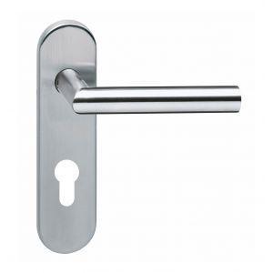 Intersteel 0774 deurkruk hoek 90 graden brandvertragend op kortschild profielcilindergat 72 mm RVS 0035.077436 - A1201552 - afbeelding 1