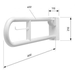 SecuCare toiletbeugel wit opklapbaar lengte 800 mm - A30200215 - afbeelding 3