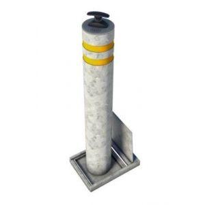 SecuPost anti rampaal verwijderbaar rond 101 mm gegalvaniseerd Heavy Duty met reflectie strepen - Y50750353 - afbeelding 1