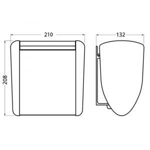 Hermeta 3275 wand afvalbak 2,5 L RAL 5011 EAN sticker - Y20100212 - afbeelding 2