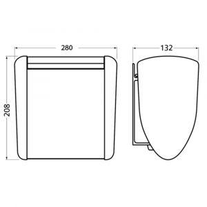 Hermeta 3280 wand afvalbak 3,5 L RAL 5011 EAN sticker - A20100214 - afbeelding 2