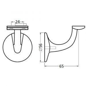 Hermeta 3503 leuninghouder 65 mm vlakzadel M8 wit - A20101701 - afbeelding 1