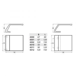 Hermeta 4302 deurduwer 150x90 mm 2x M6 naturel EAN sticker - Y20101953 - afbeelding 2