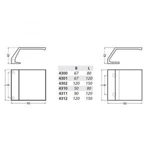 Hermeta 4312 deurduwer 150x90 mm 2x 8,5 mm nieuw zilver - A20101956 - afbeelding 2