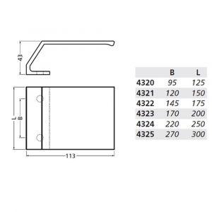 Hermeta 4325 deurduwer 300x113 mm 2x 8,5 mm nieuw zilver - Y20101959 - afbeelding 2