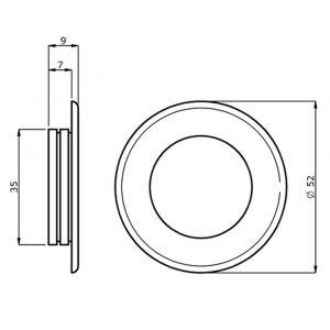 Hermeta 4554 schuifdeurkom rond 52 mm zwart - Y20101971 - afbeelding 1