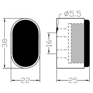 Hermeta 4700 deurbuffer ovaal 25 mm naturel - Y20101917 - afbeelding 2