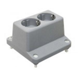 ABB 3640W2 lasdoos deksel met 2V wandcontactdoos met randaarde grijs - A51270116 - afbeelding 1