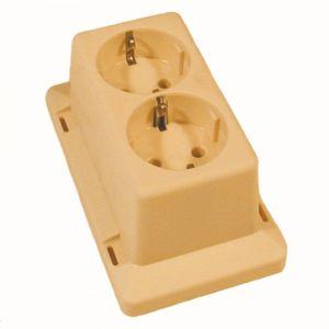 ABB 3611W2 lasdoos deksel en wandcontactdoos 2V met randaarde creme - A51270118 - afbeelding 1