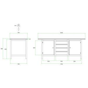 Brakel BW170.03 werkbank BW170 3-vaks 2 deuren 600 mm en 4 laden 150 mm 2000x750x860 mm RAL - Y40630020 - afbeelding 2